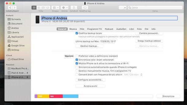 Cambiare nome iPhone da Mac