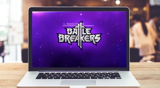 Foto di un computer con Battle Breakers