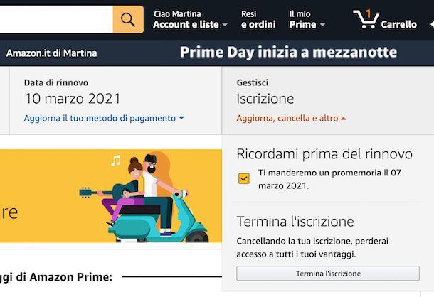 Disattivazione Amazon Prime