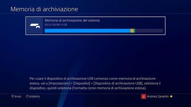 Memoria di archiviazione del sistema PS4