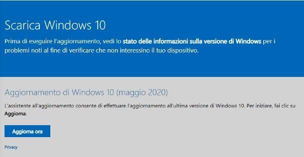 Installare gli aggiornamenti Windows 10 manualmente