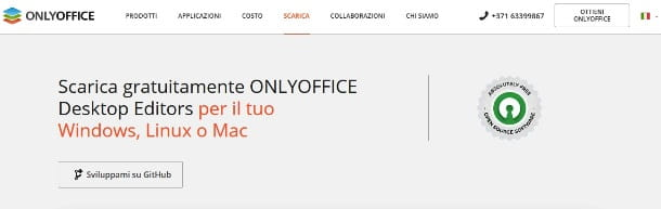 Pagina di download di OnlyOffice