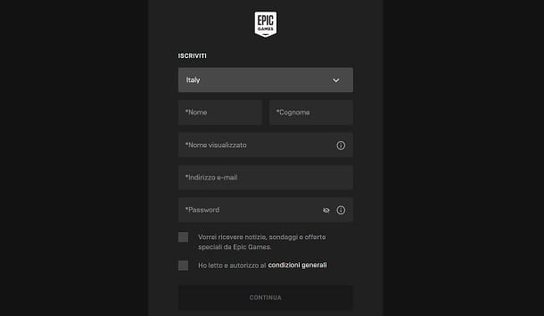 Registrare account Fortnite