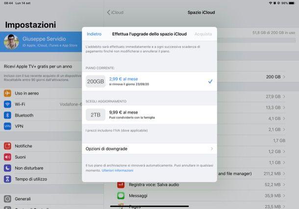 Acquistare spazio su iCloud a pagamento