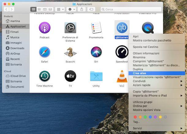 Collegamento applicazioni scrivania su macOS