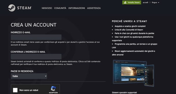 Come creare un account Steam da computer