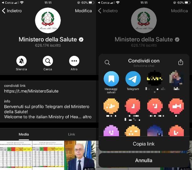 Condividere canale pubblico Telegram su iPhone