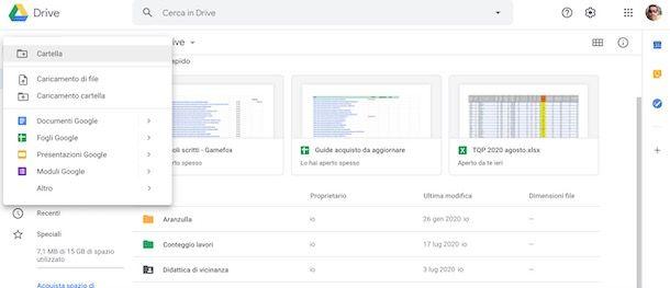 Creare una cartella su Drive da browser