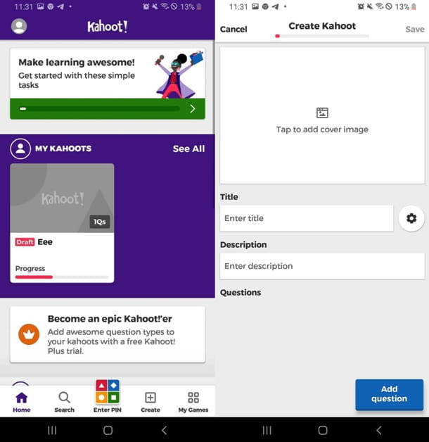 Giocare a Kahoot! Play & Create Quizzes