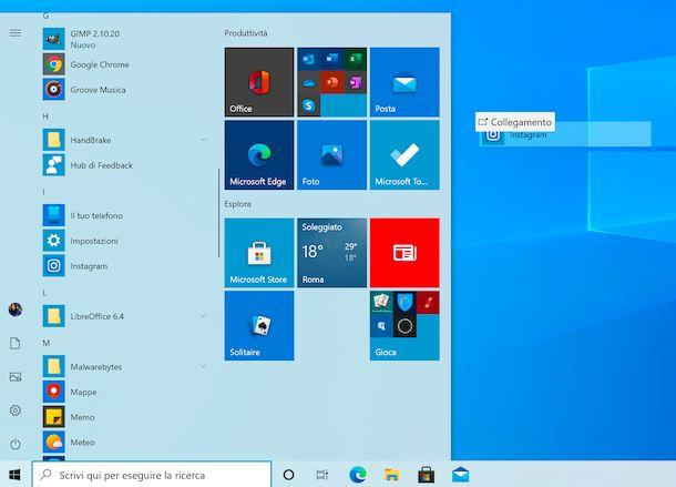 Collegamento icone da menu Start a desktop su Windows 10