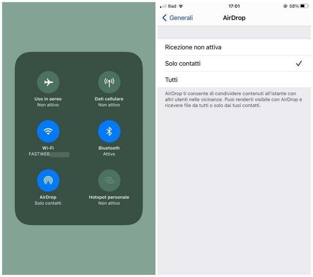 Come attivare AirDrop su iPhone