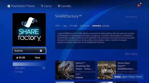 Come scaricare SHAREfactory su PS4