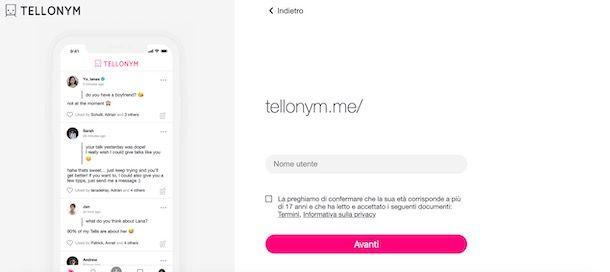 Come registrarsi su Tellonym da computer