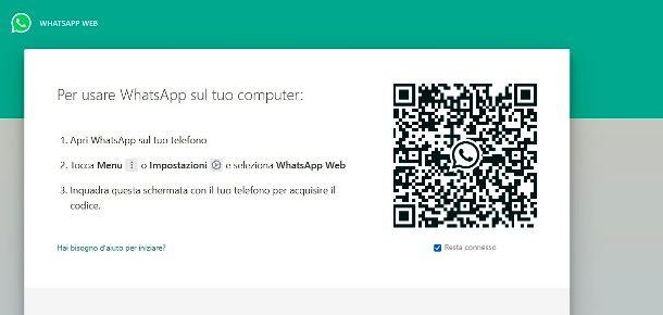 La home page di WhatsApp Web