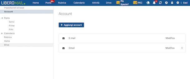 Impostazioni account email Libero