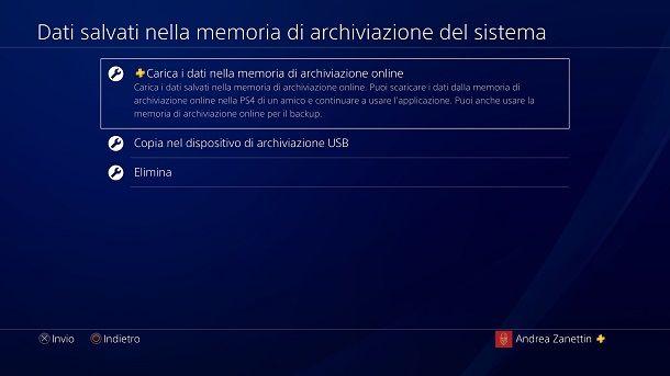 Carica i dati nella memoria di archiviazione online PS4