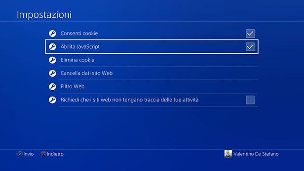 Impostazioni browser PS4