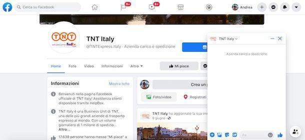 Contattare TNT su Facebook