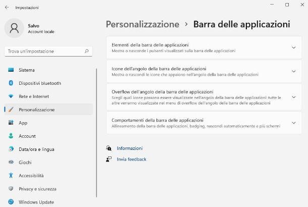 Icone tray barra applicazioni Windows 11