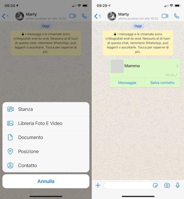 Condivisione numero di telefono su WhatsApp iOS