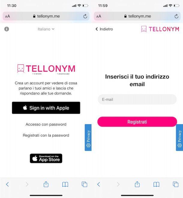 Come registrarsi su Tellonym da smartphone e tablet
