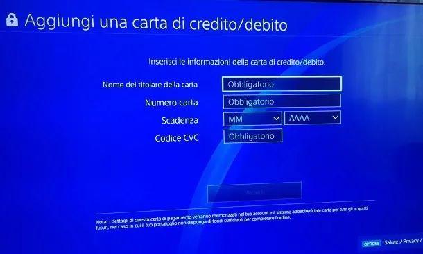 Aggiungi una carta di credito PS4