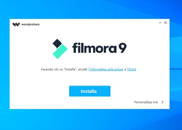 Installazione Wondershare Filmora su Windows