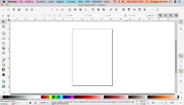 Finestra principale di Inkscape