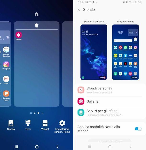 Cambiare sfondo a un cellulare Samsung