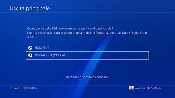 Uscita audio principale PS4