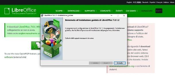 Setup di LibreOffice