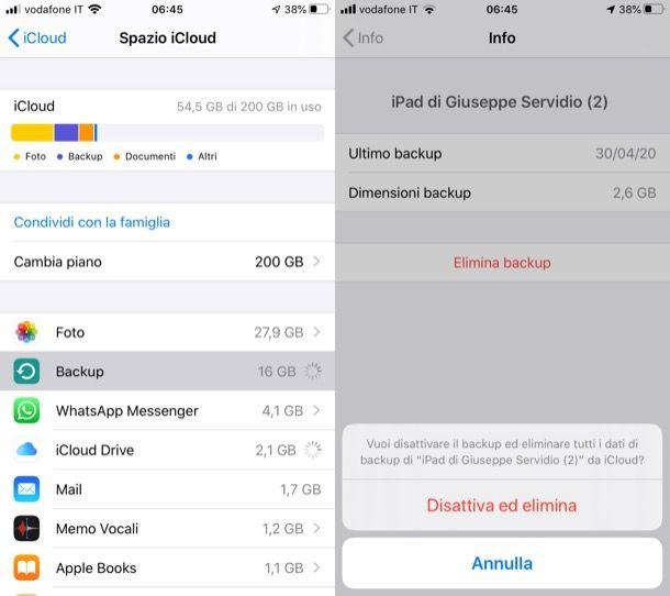 Eliminare backup iOS/iPadOS