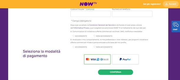 Registrarsi su NOW TV