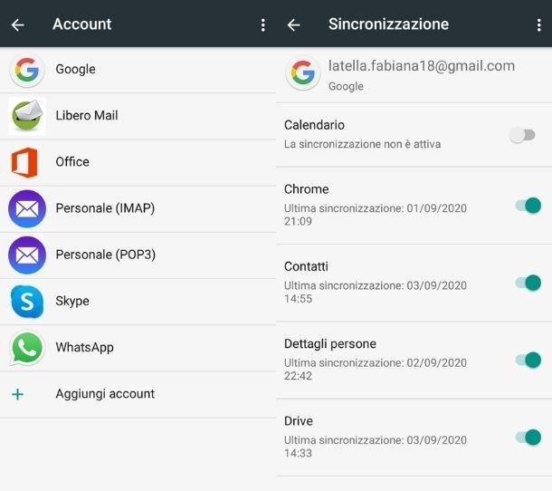 Sincronizzazione cloud Contatti
