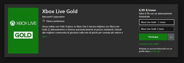 Abbonarsi a Xbox Live per il multiplayer