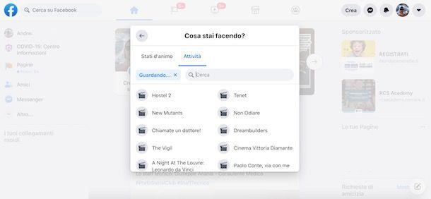 Usare le funzione Attività su Facebook da computer