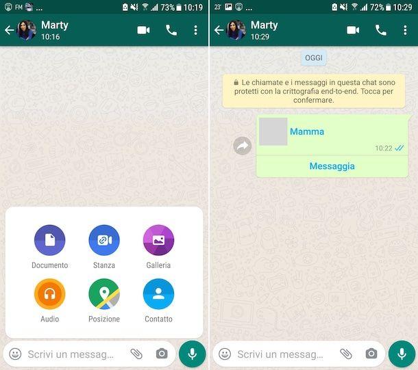 Condivisione numero di telefono su WhatsApp Android