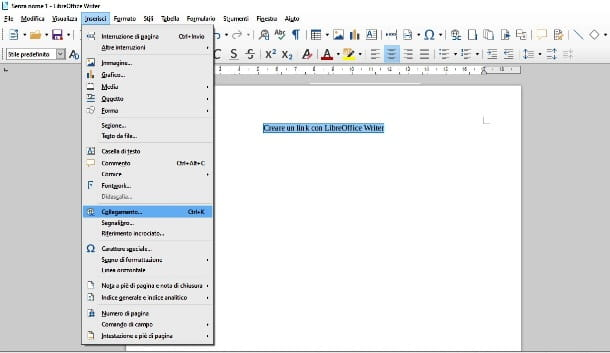 Inserire un link con Writer in LibreOffice