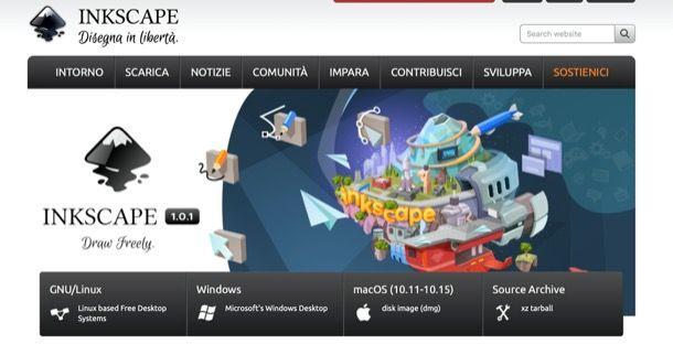 Home page del sito di Inkscape