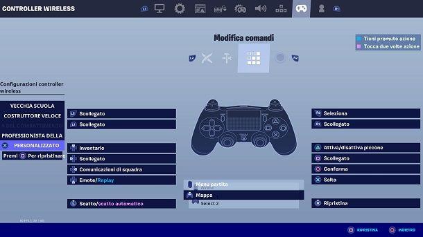 Personalizzare Fortnite PS4