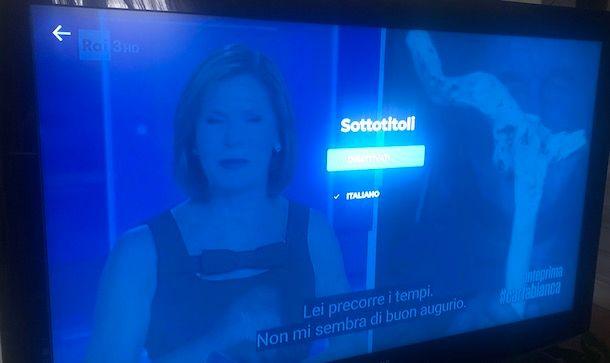 Mettere sottotitoli RaiPlay su TV