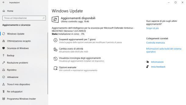 Installare gli aggiornamenti Windows 10 automaticamente