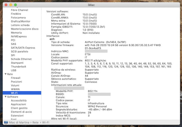Informazioni rete macOS