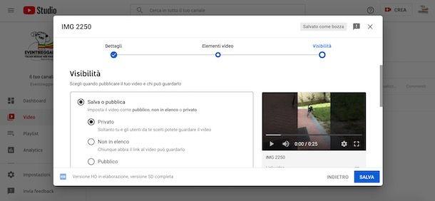 Caricare un video privato su YouTube da computer