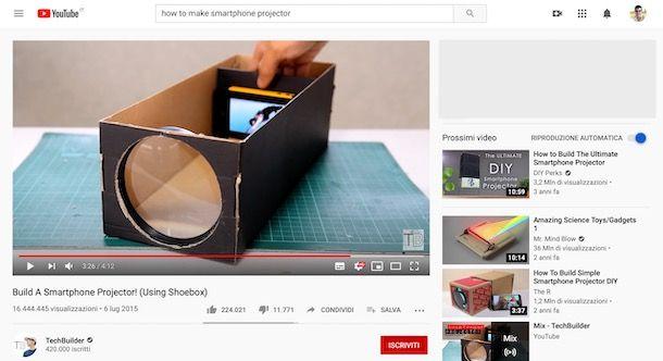Video tutorial su YouTube su come creare un proiettore per smartphone