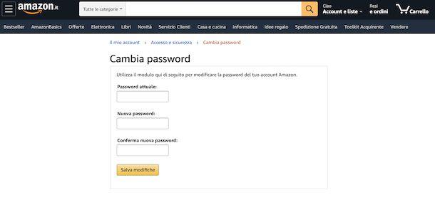 Cambio password sito Amazon