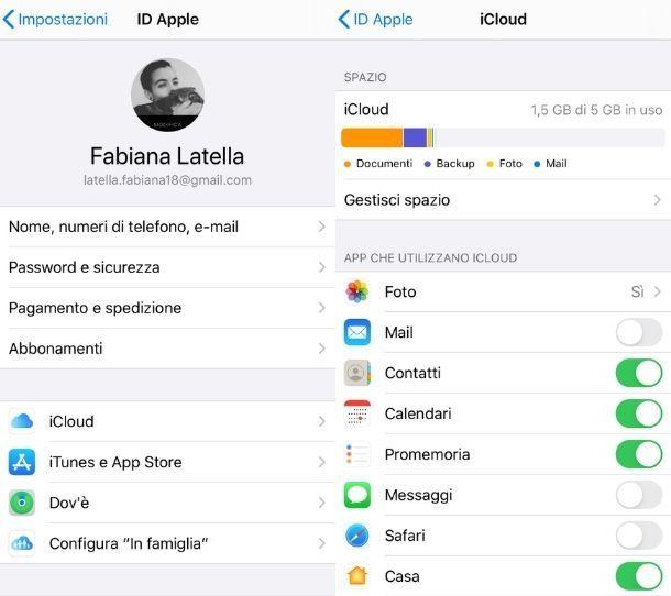 iCloud Contatti