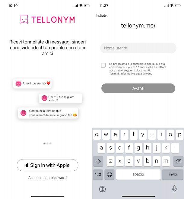 Registrarsi su Tellonym con ID Apple