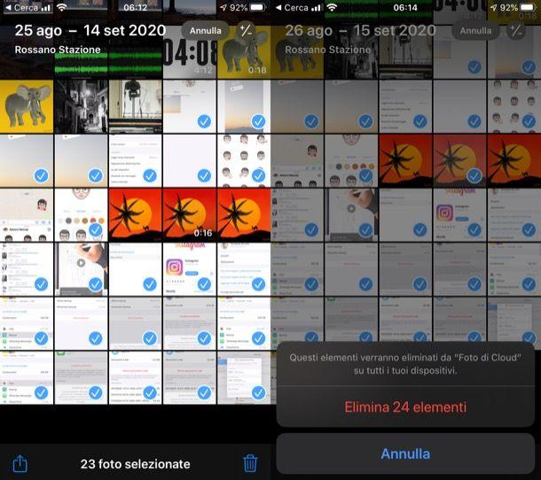 Eliminare foto da iCloud