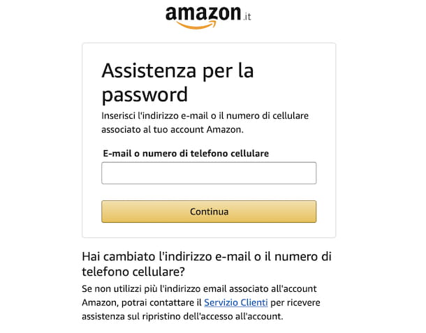Recupero password Amazon
